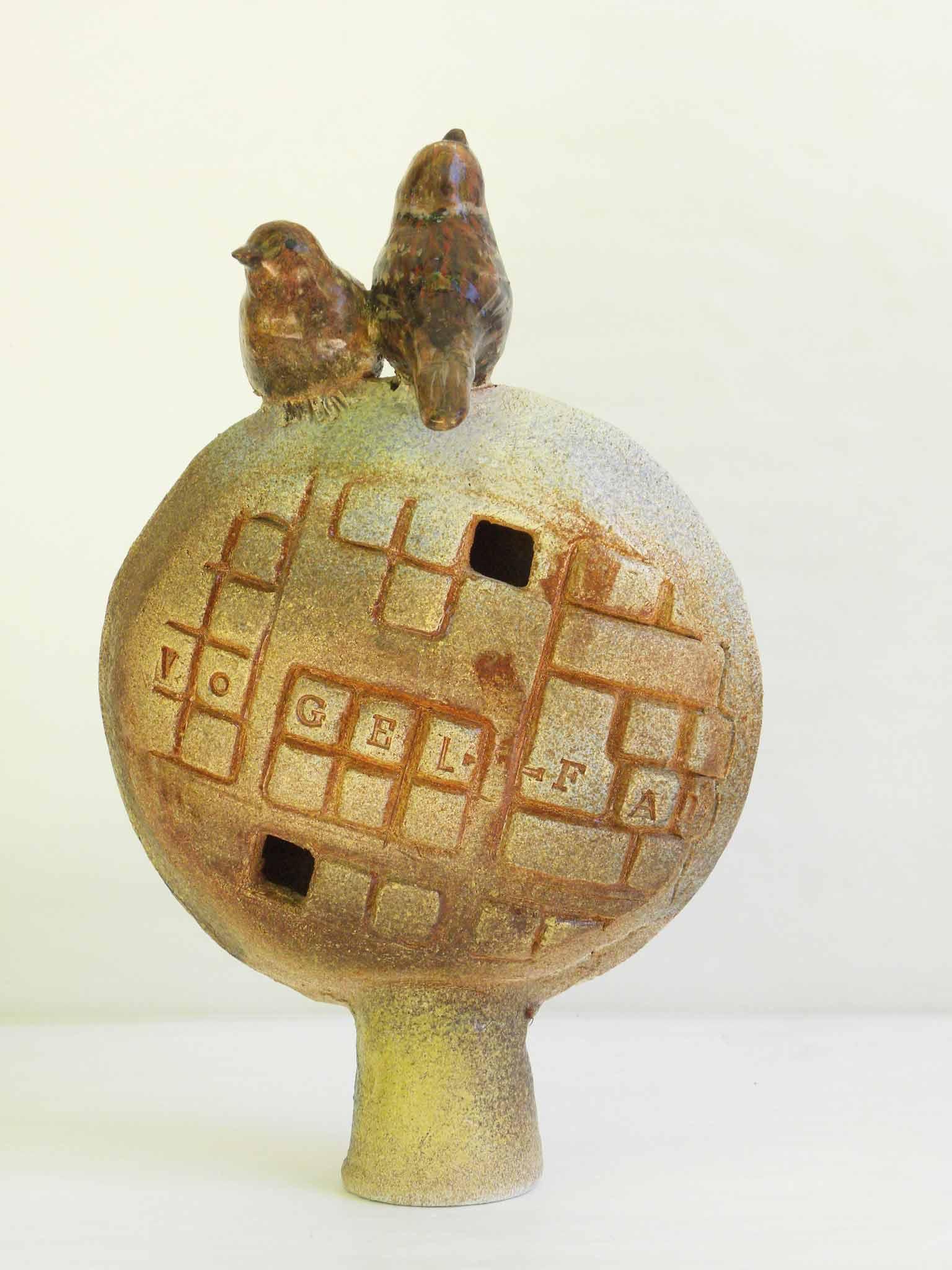 Keramikskulptur Vögel auf dem Baum